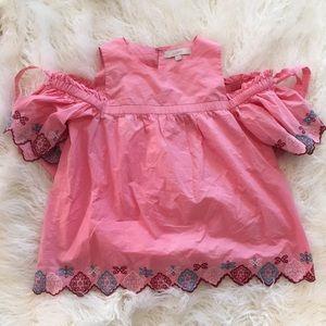 Loft pink cold shoulder top
